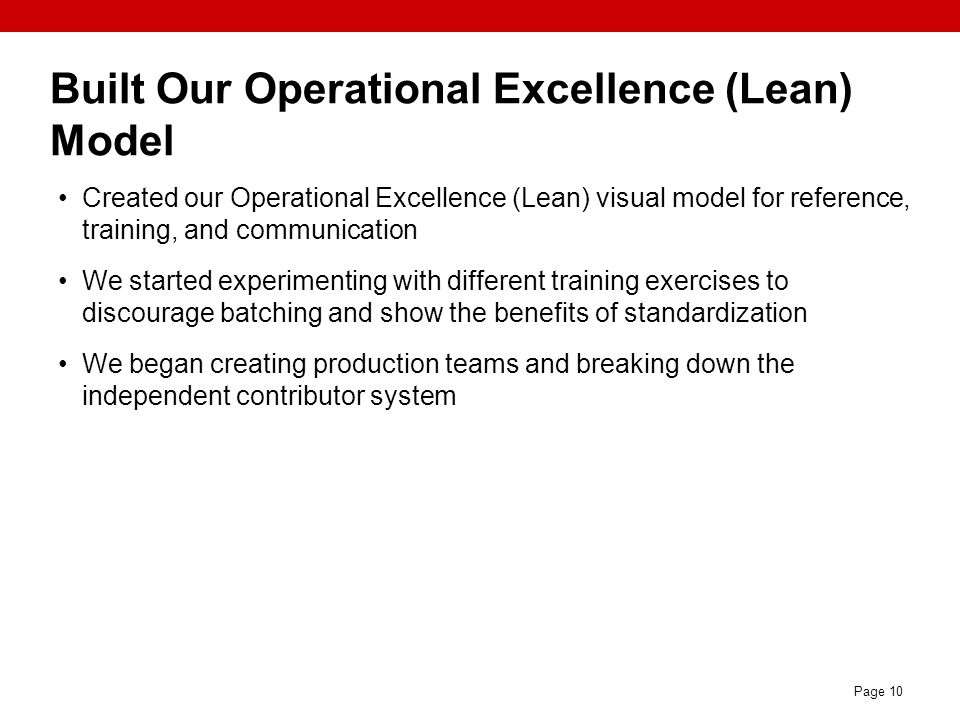 Built Our Operational Excellence (Lean) Model