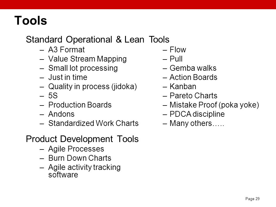 Tools Standard Operational & Lean Product Development Tools Tools