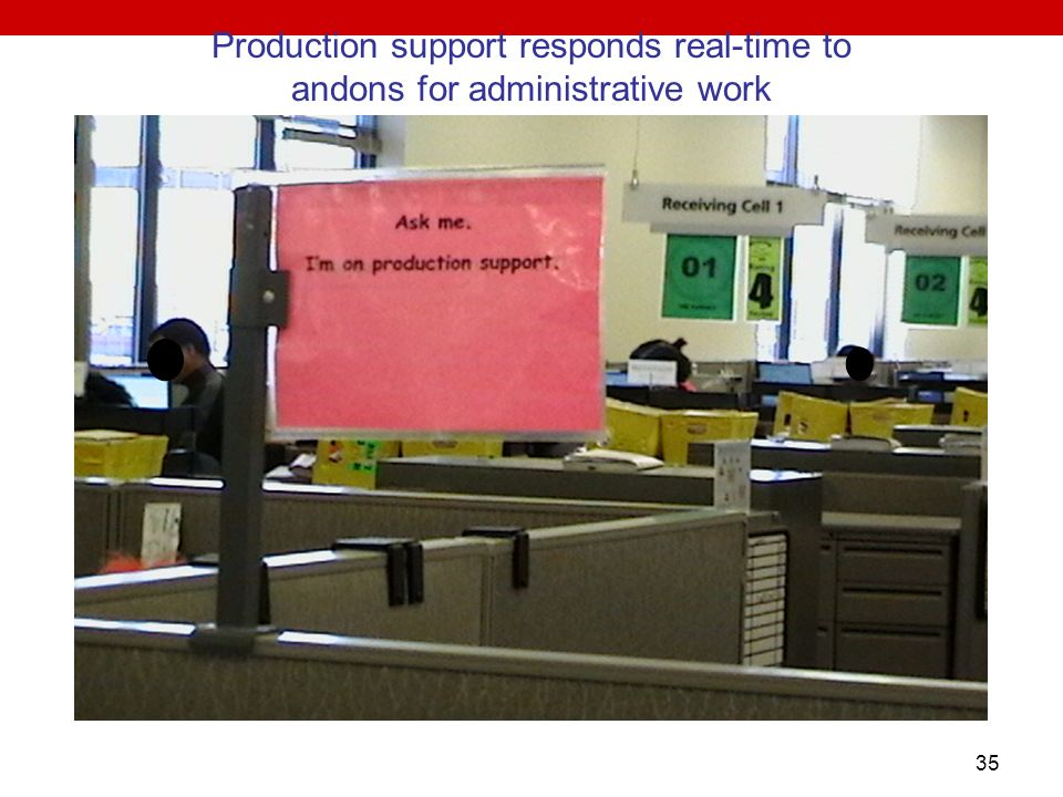 Production support responds real-time to andons for administrative work