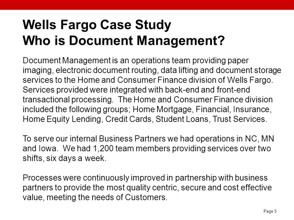 Wells Fargo Case Study Who is Document Management