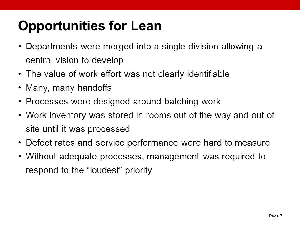 Opportunities for Lean