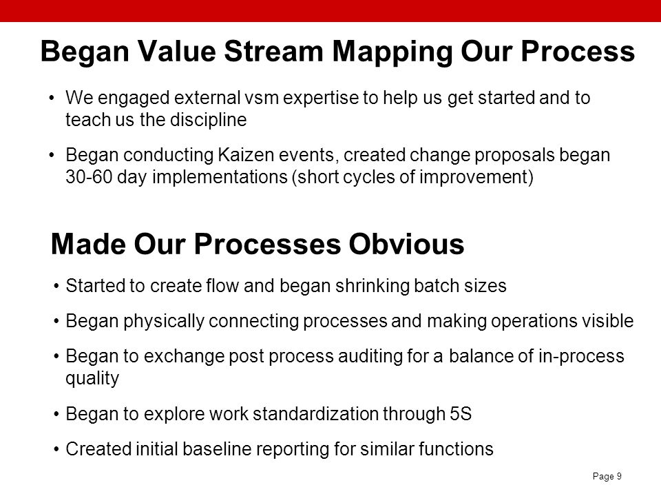 Began Value Stream Mapping Our Process