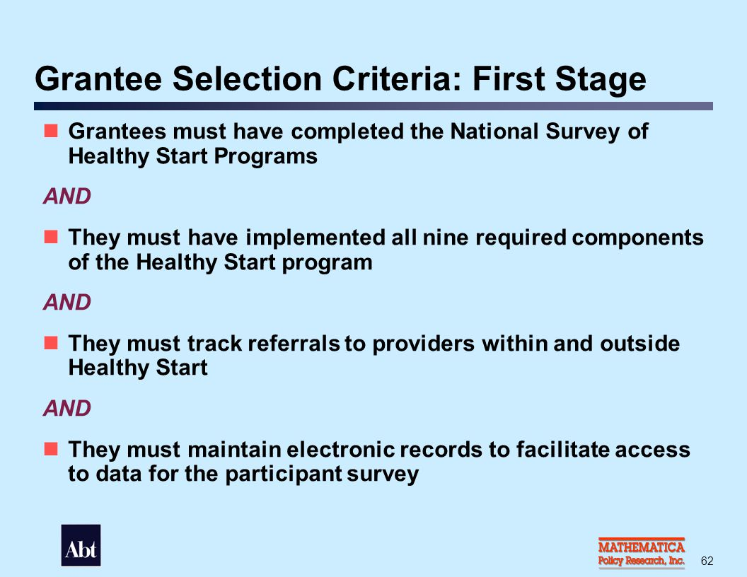 Grantee Selection Criteria: Second Stage