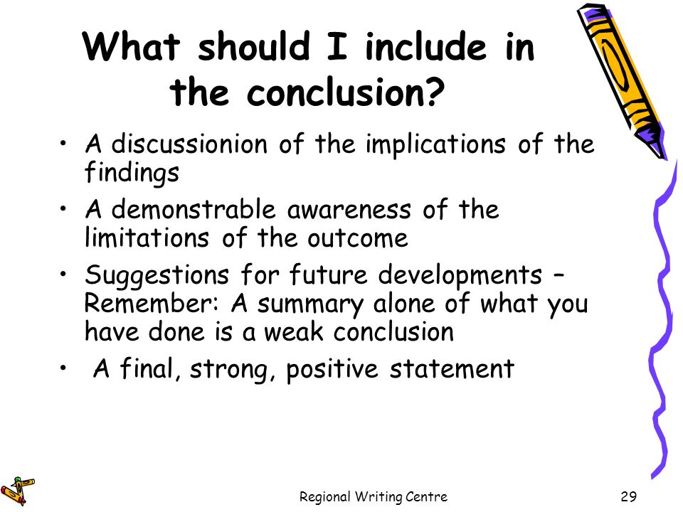 what should a conclusion include