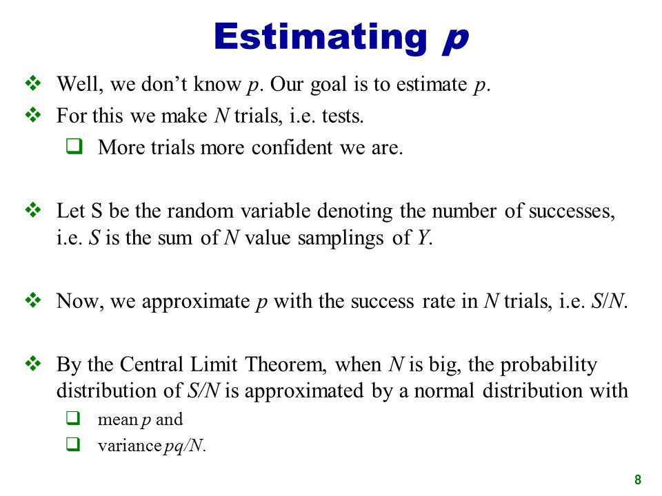 Estimating p Well, we don't know p. Our goal is to estimate p.