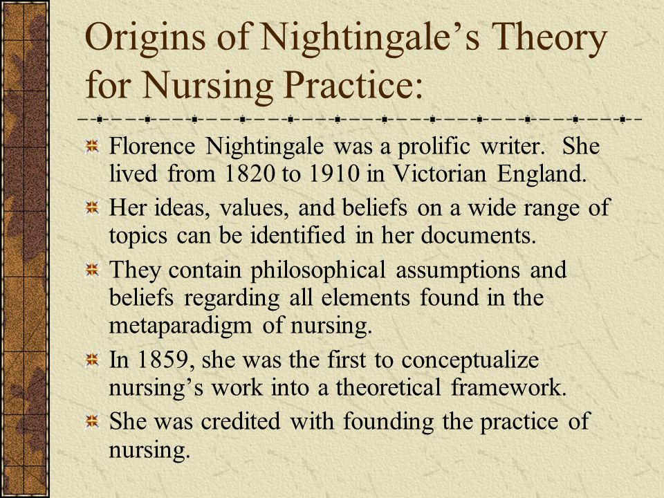 origins of nightingales theory for nursing practice