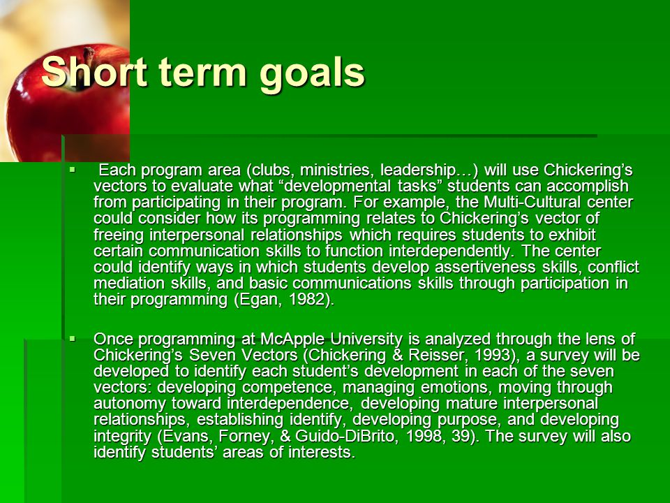 chickering theory and the seven vectors Chickering's seven vectors enable student development professionals to understand how students adjust to the uncertainty of adulthood his theory provides descriptors of the emotional and psychological transformation students might potentially undergo in college.