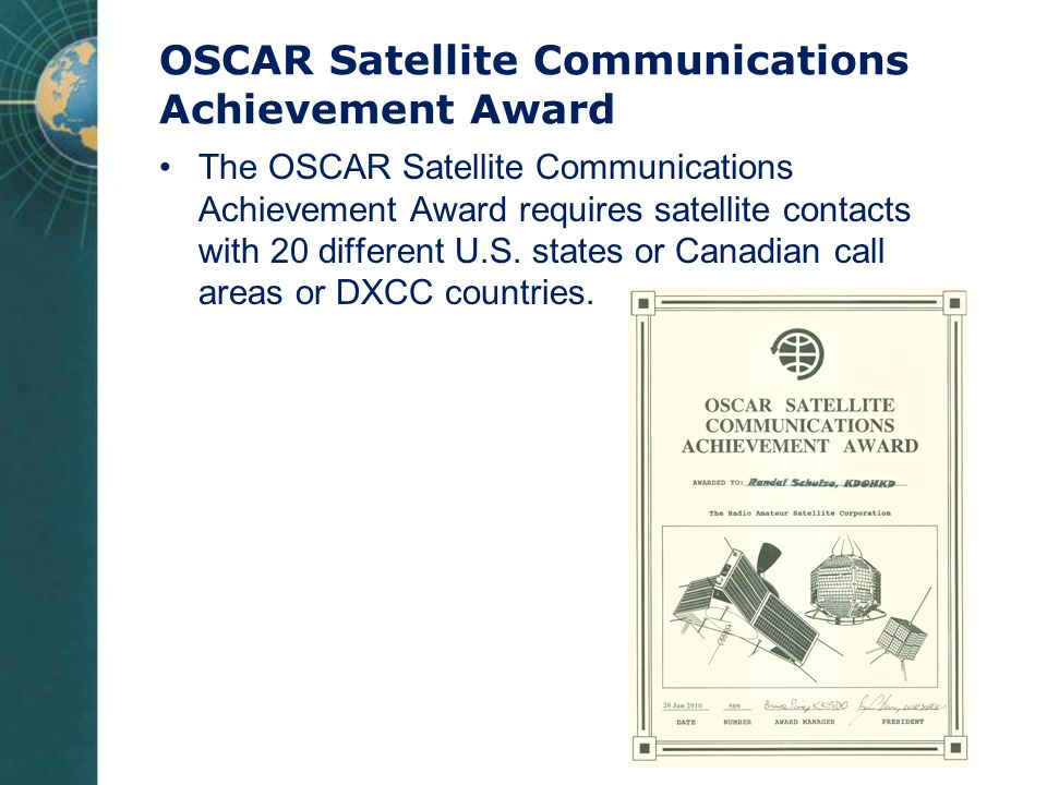 OSCAR Satellite Communications Achievement Award