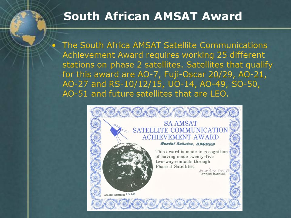 South African AMSAT Award