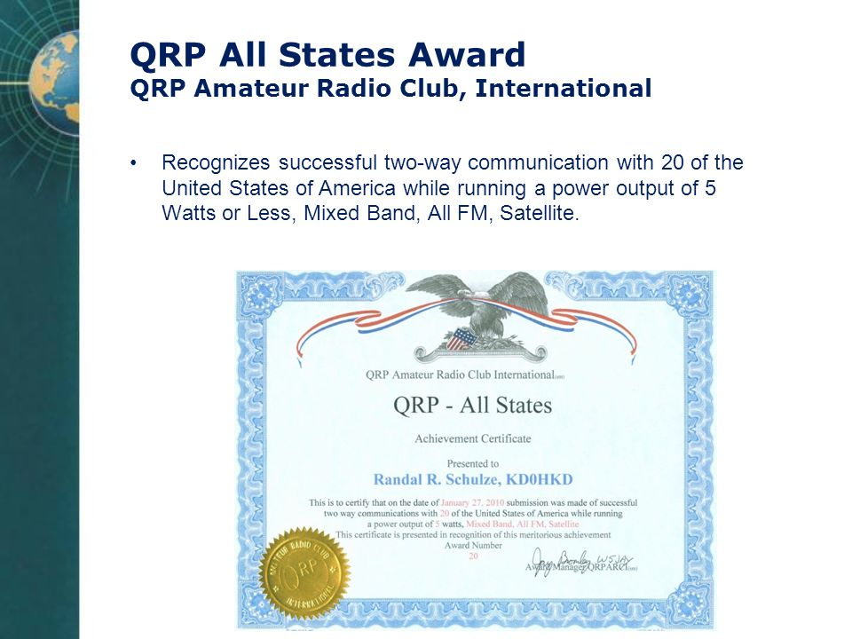 QRP All States Award QRP Amateur Radio Club, International