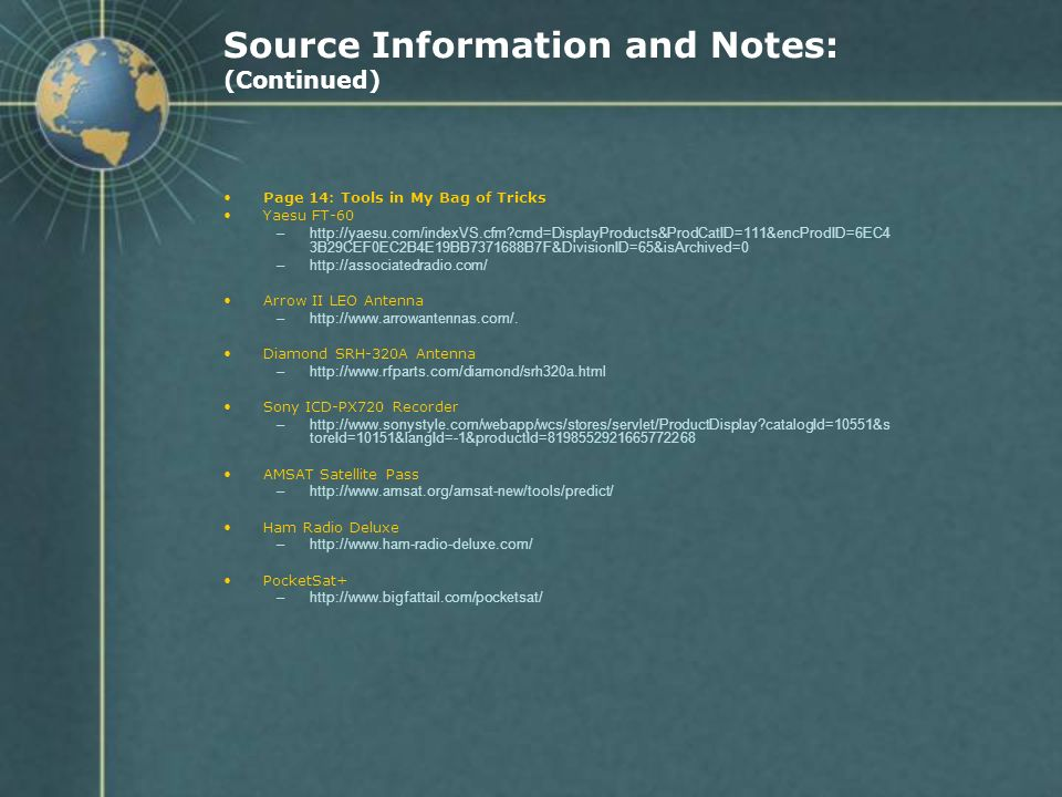 Source Information and Notes: (Continued)
