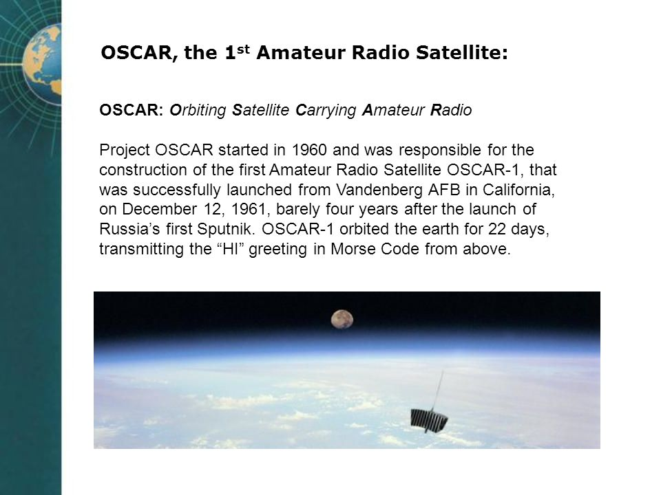 OSCAR, the 1st Amateur Radio Satellite: