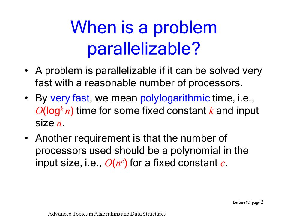 When is a problem parallelizable