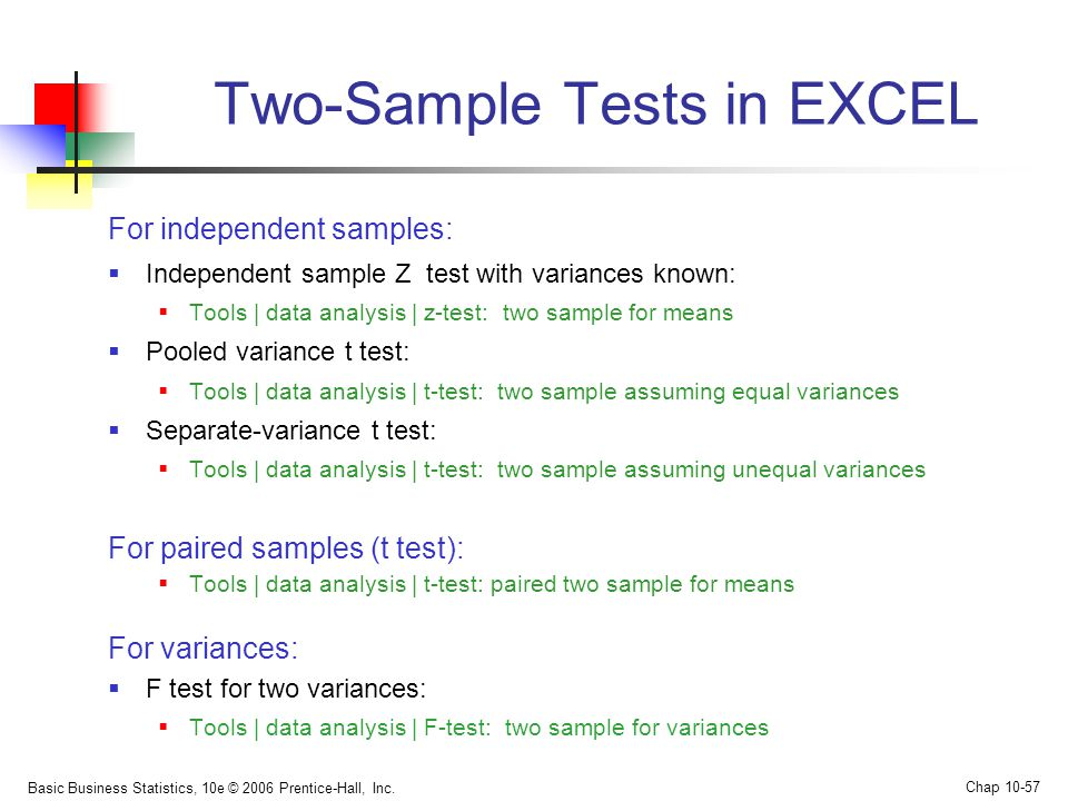 two paired t test excel