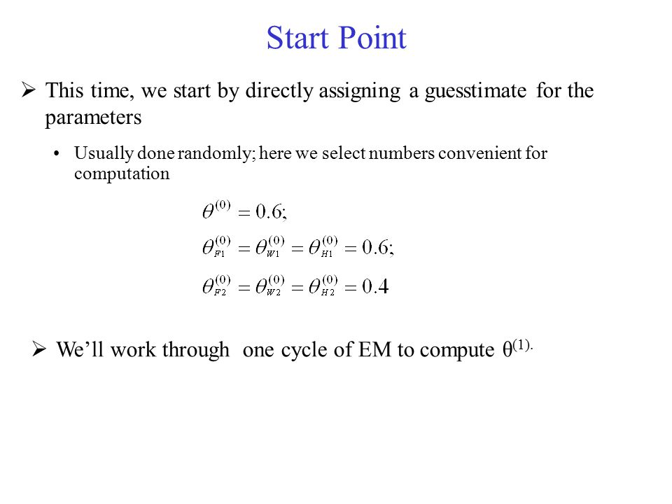 Start Point This time, we start by directly assigning a guesstimate for the parameters.