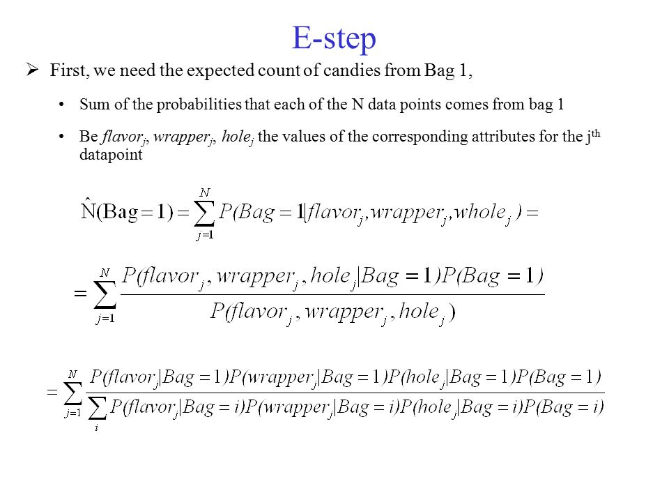 E-step First, we need the expected count of candies from Bag 1,