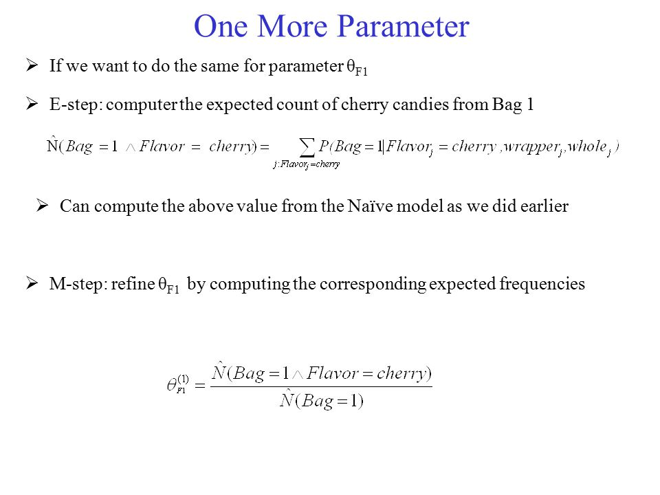 One More Parameter If we want to do the same for parameter θF1