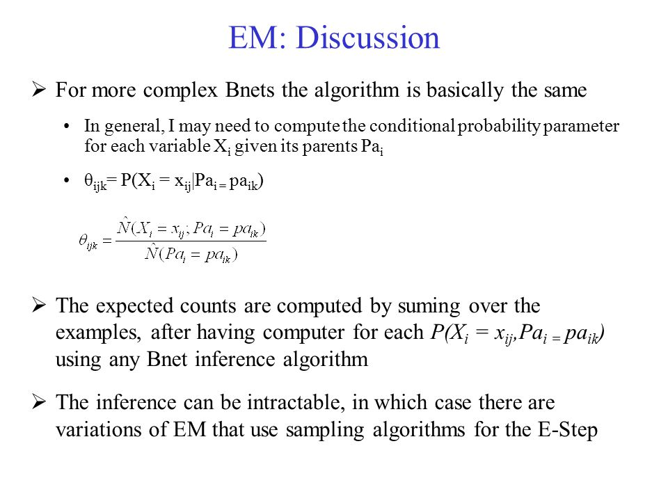 EM: Discussion For more complex Bnets the algorithm is basically the same.