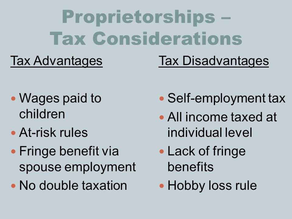 Proprietorships – Tax Considerations