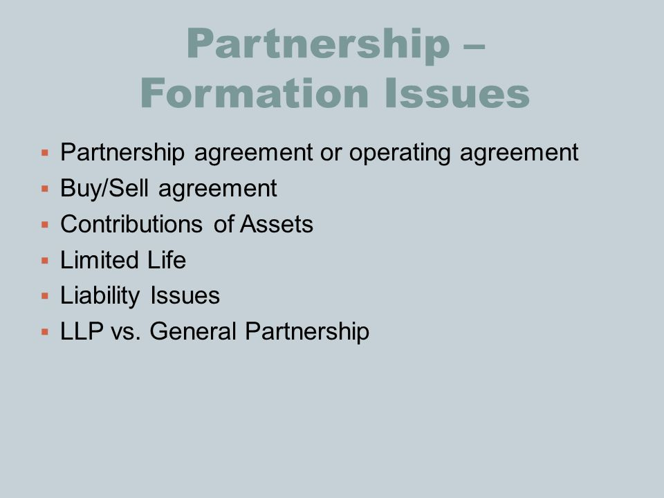 Partnership – Formation Issues