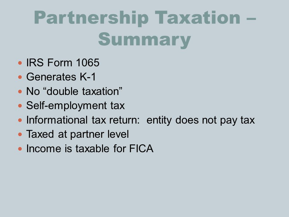 Partnership Taxation – Summary