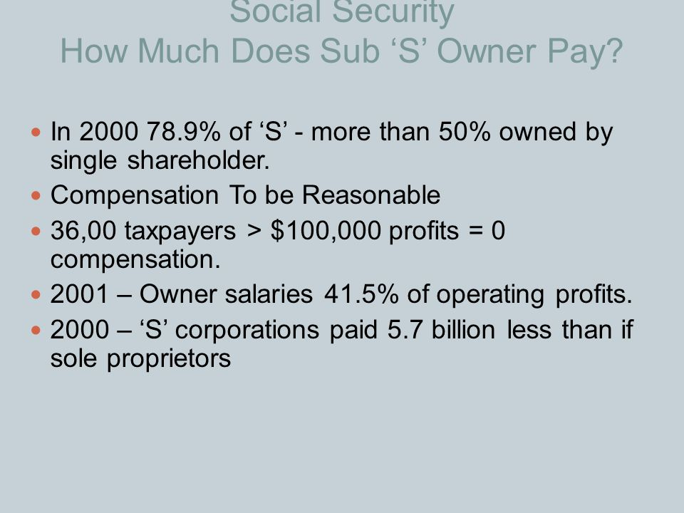 Social Security How Much Does Sub 'S' Owner Pay