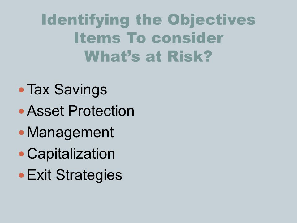 Identifying the Objectives Items To consider What's at Risk