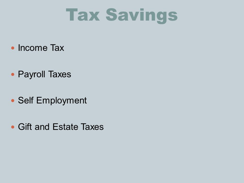 Tax Savings Income Tax Payroll Taxes Self Employment