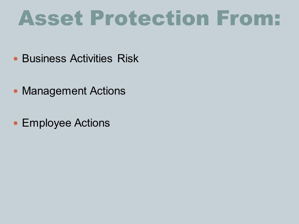 Asset Protection From: