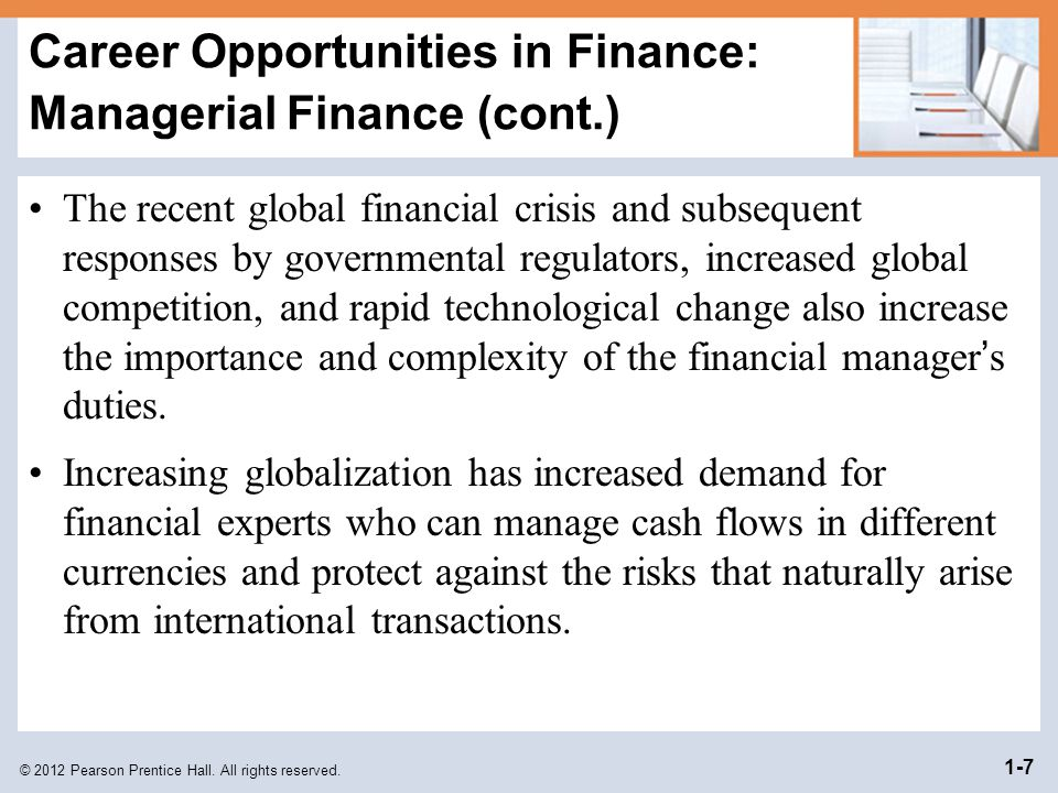 Objectives Define finance and the managerial finance ...