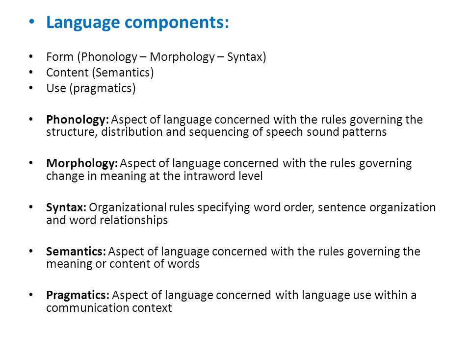 Language components: Form (Phonology – Morphology – Syntax)