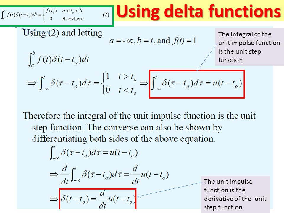 Using delta functions The integral of the unit impulse function is the unit step function.