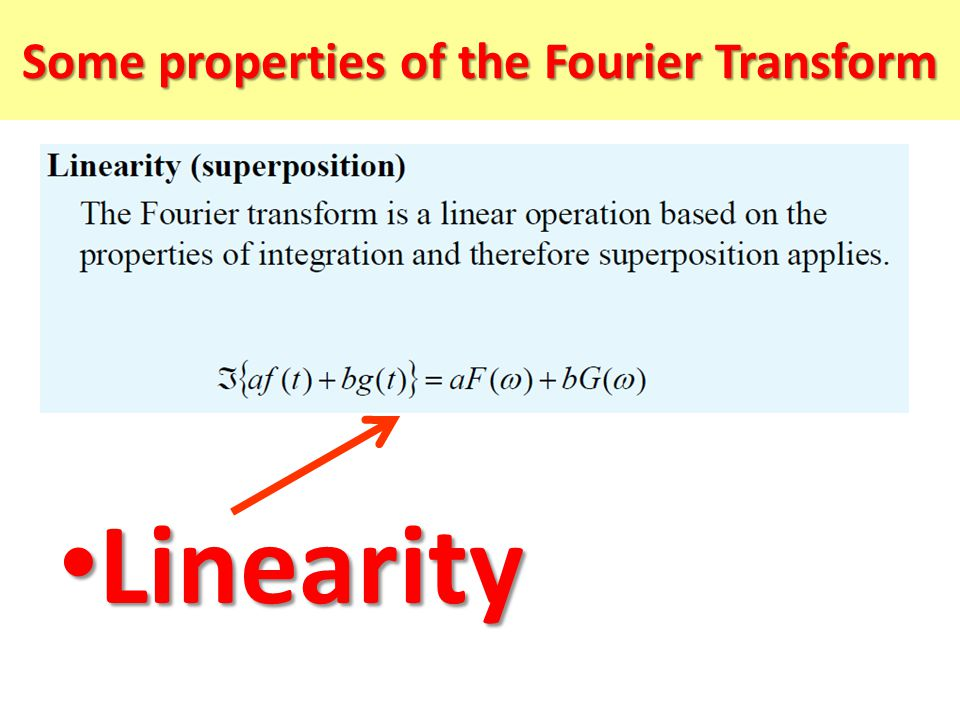 Some properties of the Fourier Transform