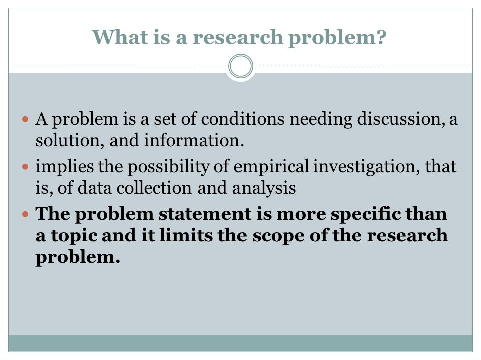 What is a research problem
