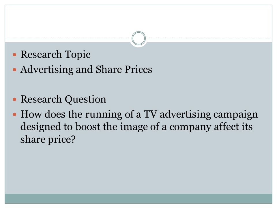 Research Topic Advertising and Share Prices. Research Question.
