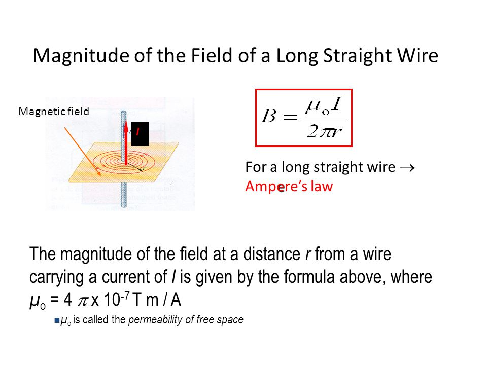 Chapter 30 sources of the magnetic field the biotsavart law ppt magnitude of the field of a long straight wire greentooth Images
