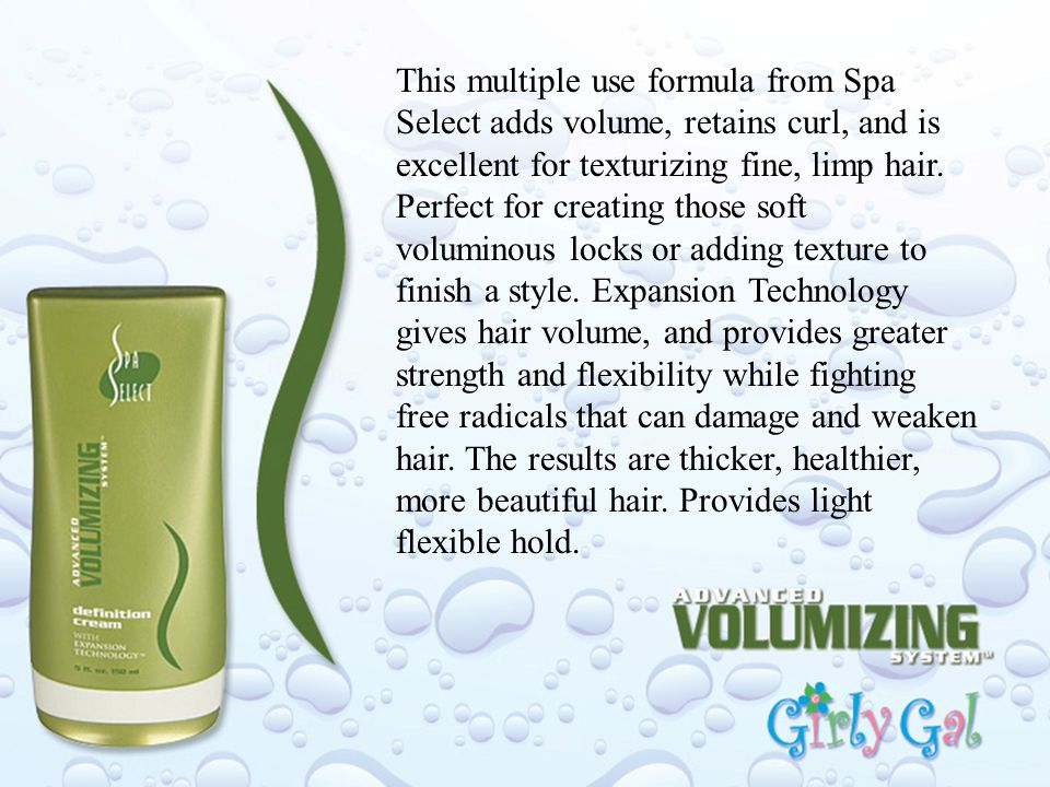 This multiple use formula from Spa Select adds volume, retains curl, and is excellent for texturizing fine, limp hair.