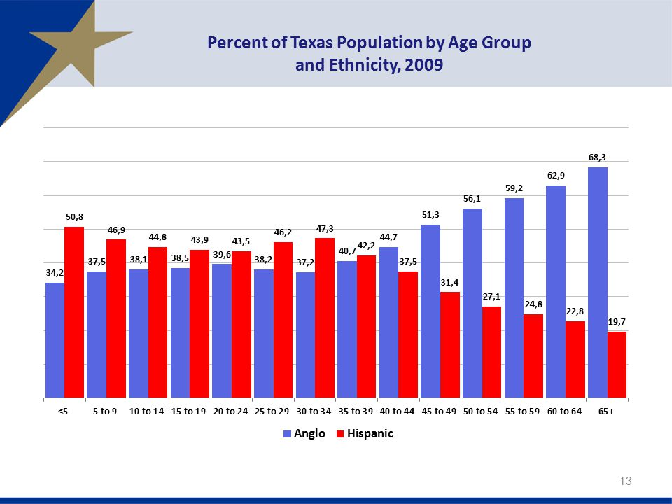 Percent of Texas Population by Age Group and Ethnicity, 2009