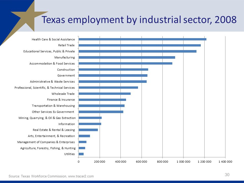 Texas employment by industrial sector, 2008