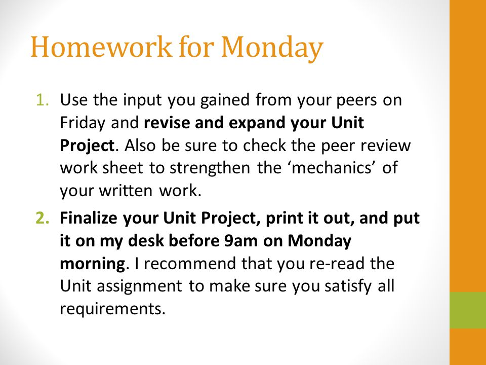 Homework for Monday