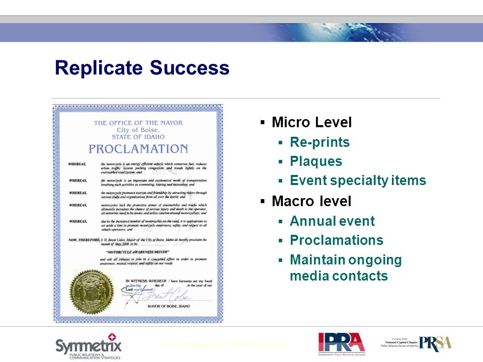 Replicate Success Micro Level Macro level Re-prints Plaques