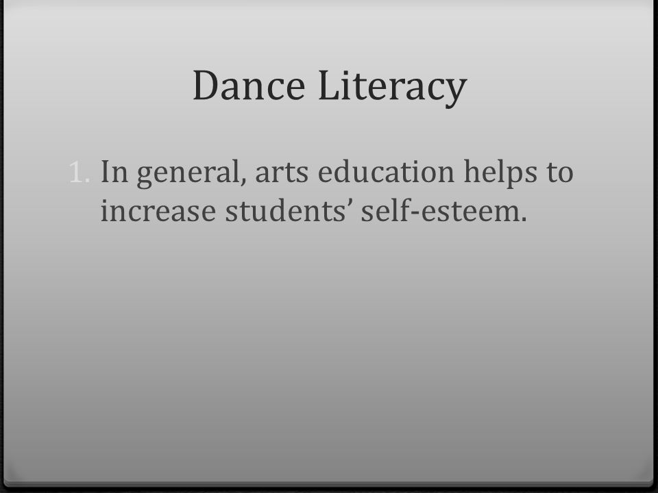 Dance literacy by reina potaznik ppt video online download 7 dance literacy in general arts education helps to increase students self esteem malvernweather Choice Image