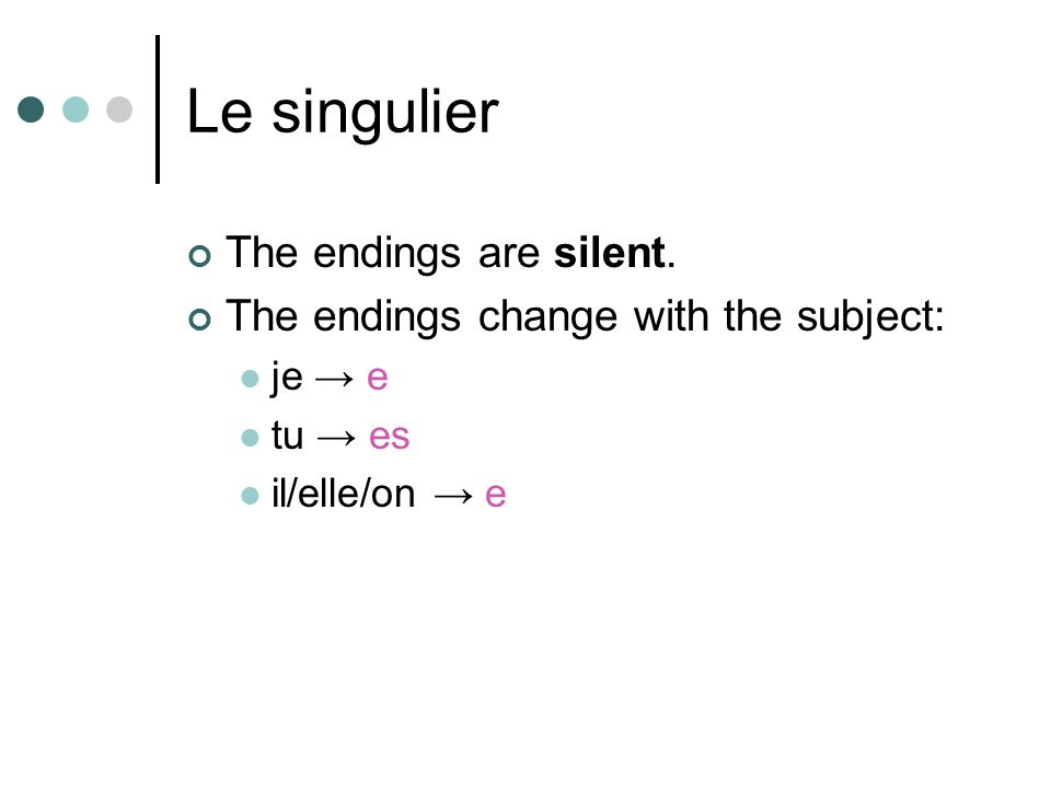 Le singulier The endings are silent.