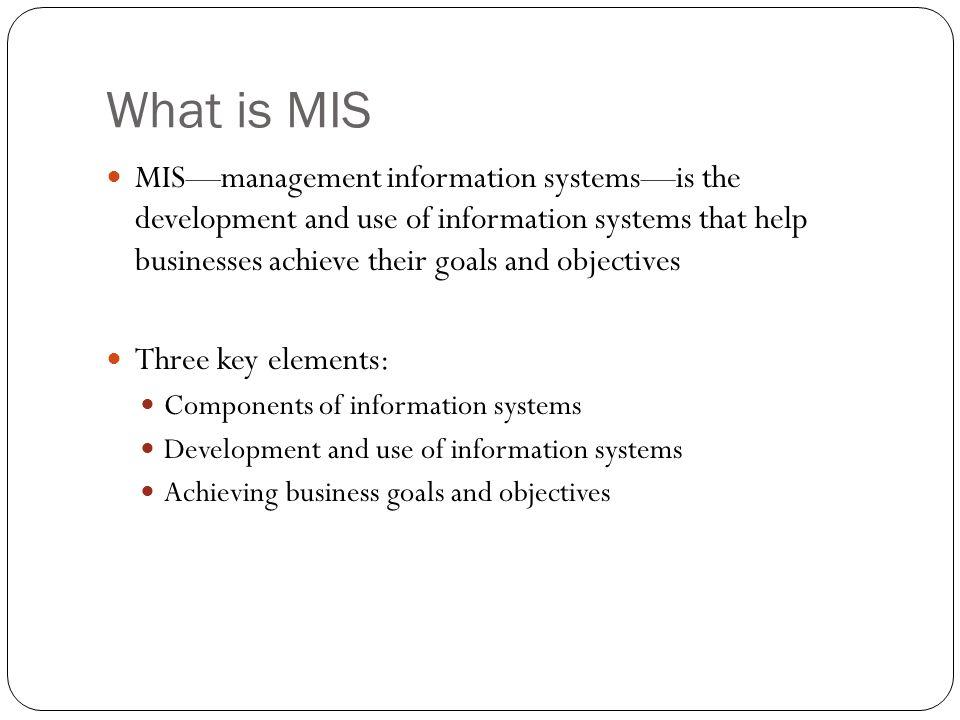 key elements of a management information system
