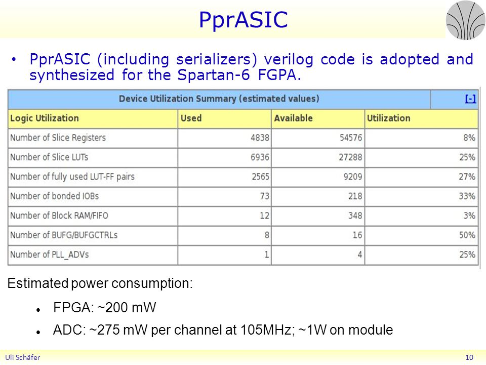 PprASIC PprASIC (including serializers) verilog code is adopted and synthesized for the Spartan-6 FGPA.