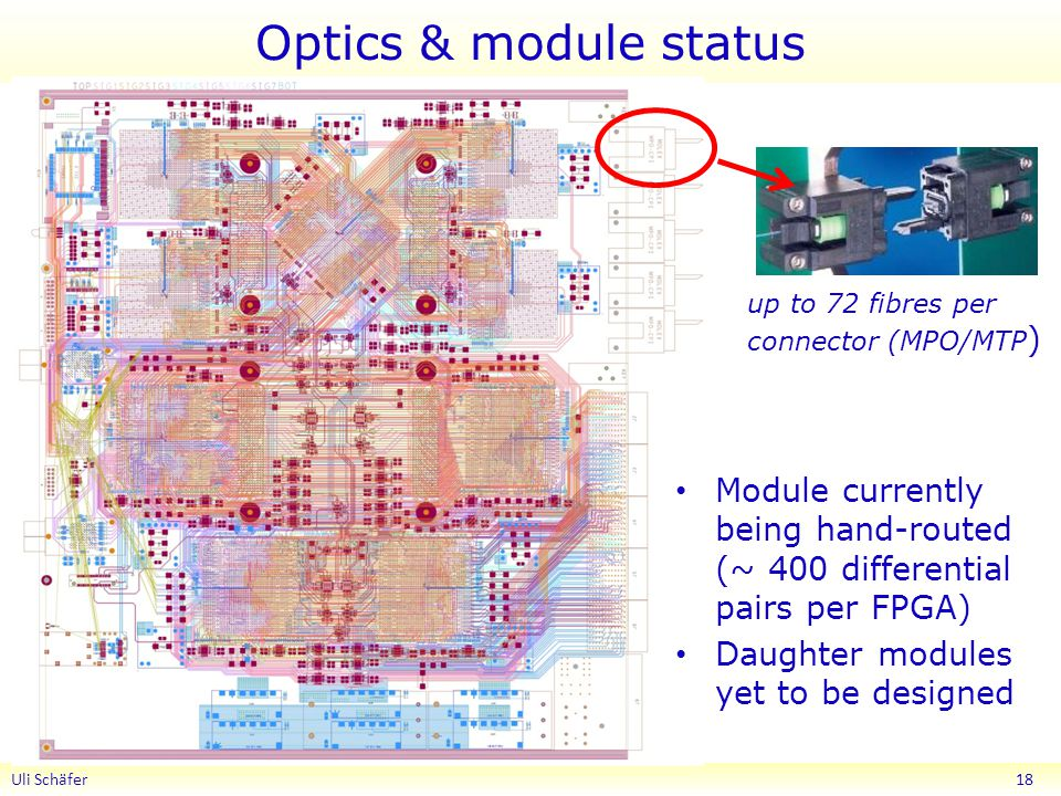 Optics & module status up to 72 fibres per connector (MPO/MTP) Module currently being hand-routed (~ 400 differential pairs per FPGA)