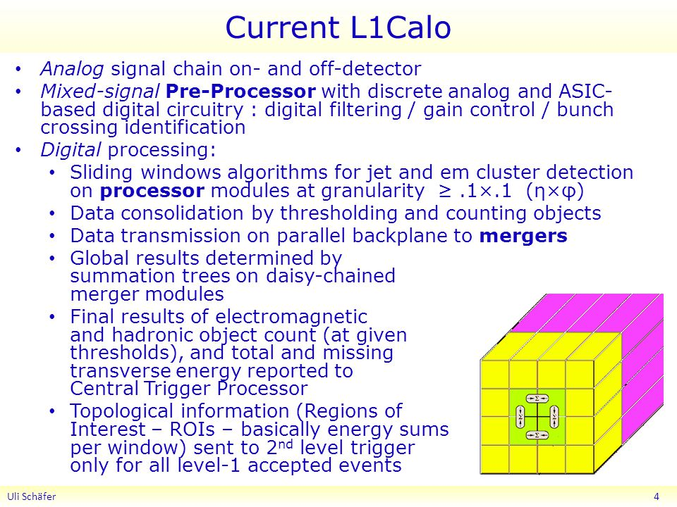 Current L1Calo Analog signal chain on- and off-detector