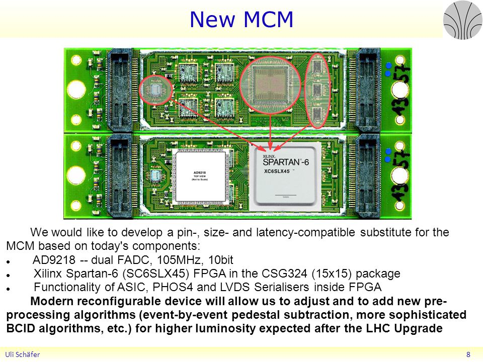 New MCM We would like to develop a pin-, size- and latency-compatible substitute for the MCM based on today s components: