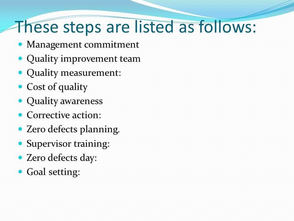 These steps are listed as follows: