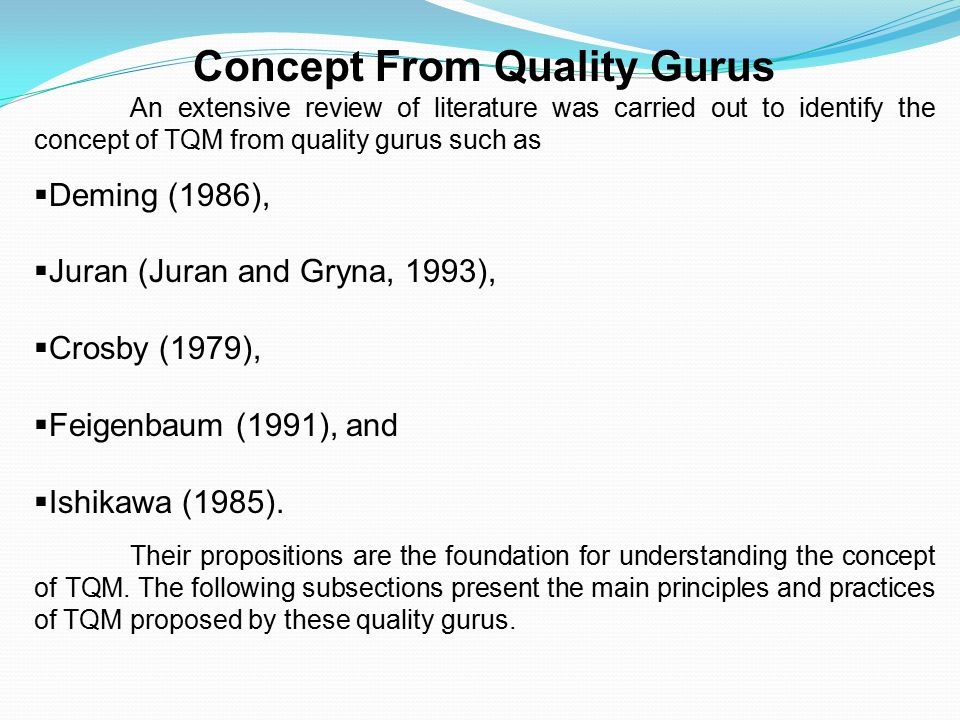 Concept From Quality Gurus